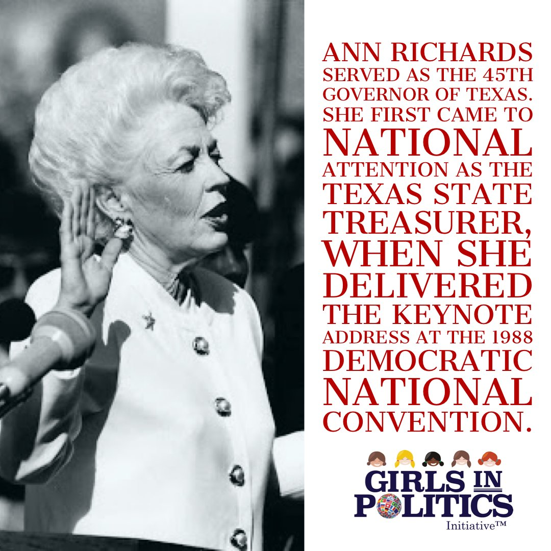 Ann Richards served as the 45th Governor of Texas. She first came to national attention as the Texas State Treasurer, when she delivered the keynote address at the 1988 Democratic National Convention. #womenleading #AnnRichards #girlsinpoliticspic.twitter.com/FuT2NgCKif