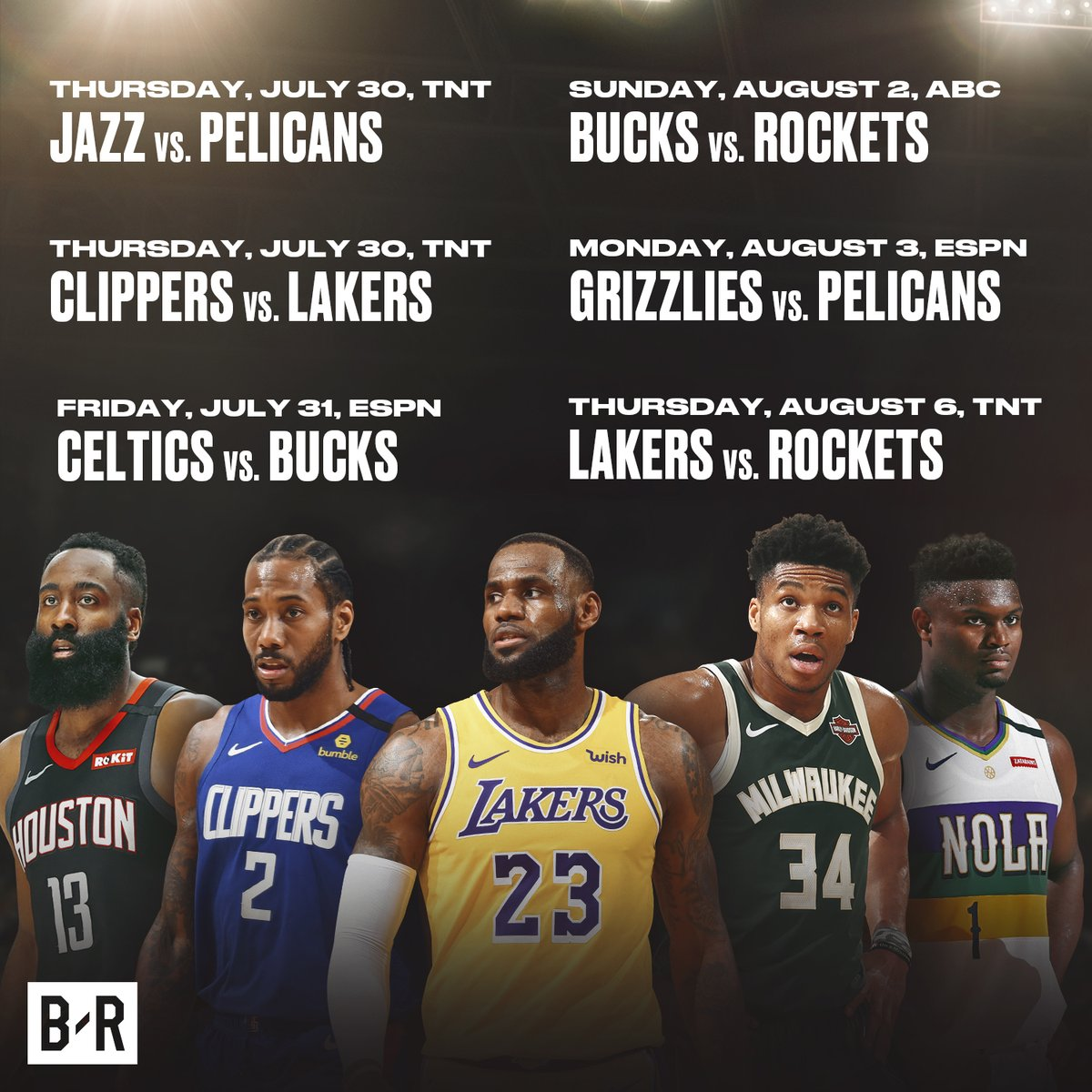 🚨 New NBA schedule released 🚨 Jazz-Pelicans and Lakers-Clippers to restart the season on July 30 on @NBAonTNT