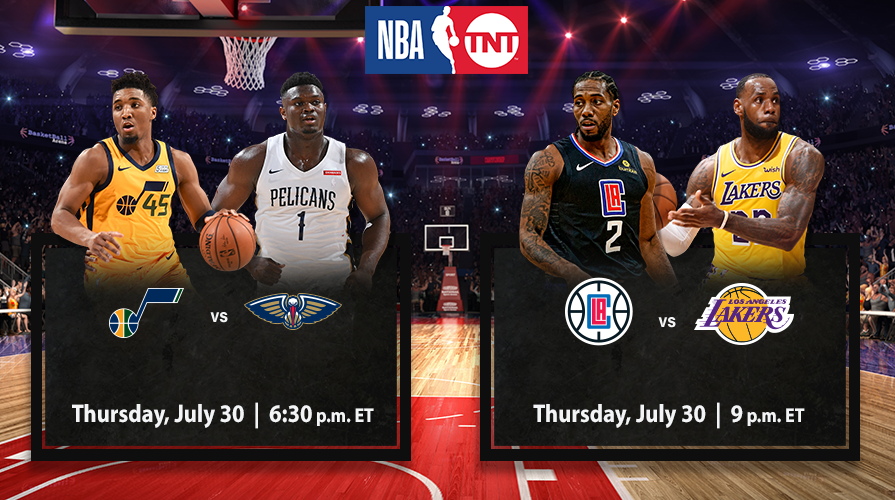 TNT to tip off return of 2019-20 NBA season with @KingJames, @AntDavis23, @kawhileonard, @Yg_Trece, @Zionwilliamson & @spidadmitchell in action, Thursday, July 30  Full release: https://t.co/OndiUWGMgb https://t.co/7gOnZItd2t