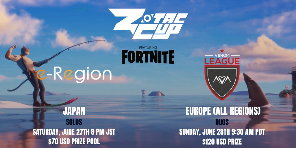 Craving some international #Fortnite action? @e_region_FORTNI and @vnmTourney are bringing it to you with a $70 prize pool Japan Solos tournament and a $120 prize pool All-Regions tournament. Free to enter. Free to play. Sign up today! https://t.co/MRD9vVN1q4 https://t.co/VGXBCgq28g