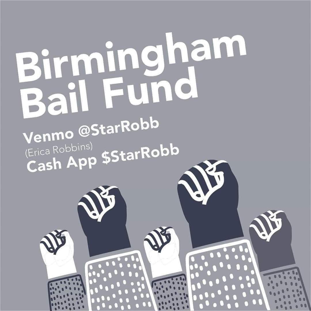 .@HooverPD is again arresting peaceful demonstrators. Donate to the Birmingham Bail Fund now!