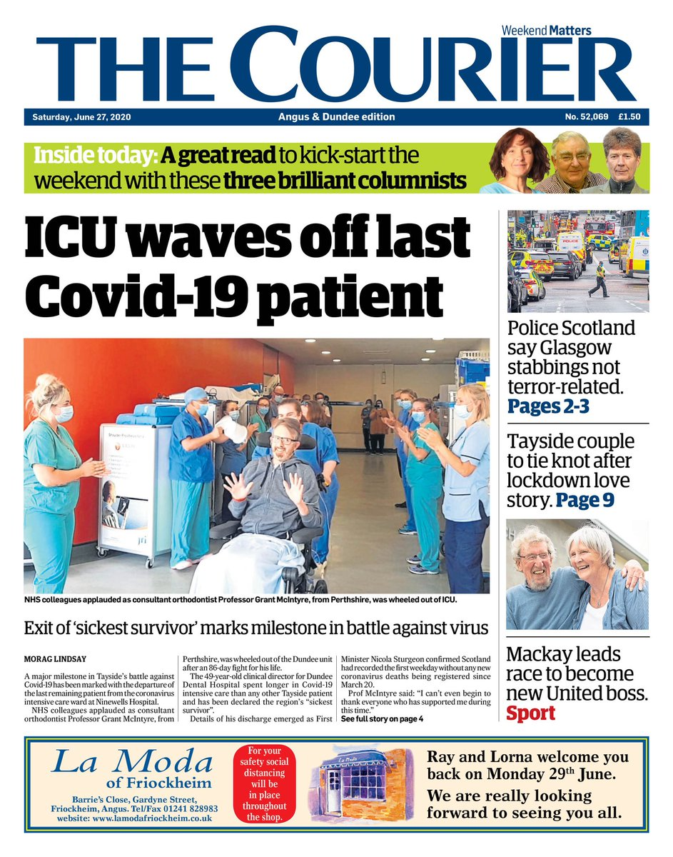 Brilliant news in Saturday's Courier: The Covid-19 intensive care unit at Ninewells Hospital is empty. Long may that continue. https://t.co/N7aZ0bzujs