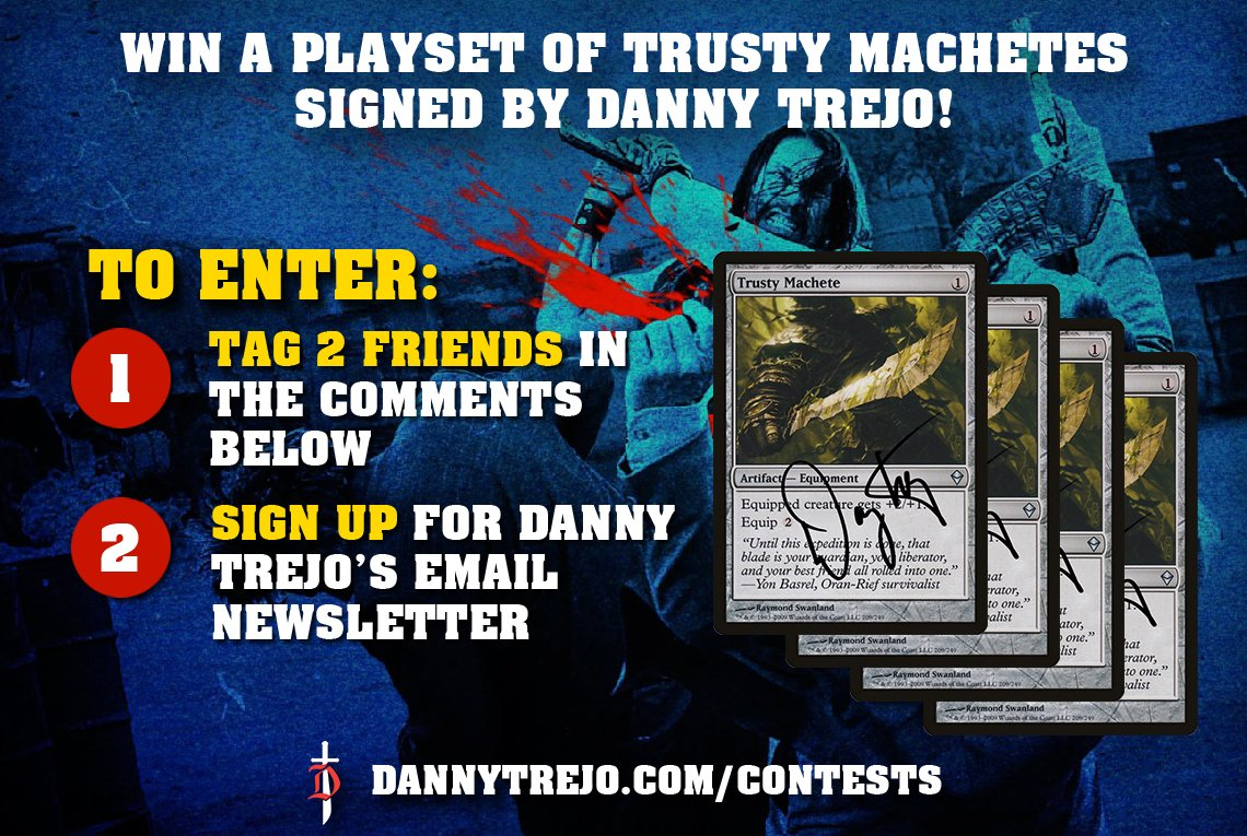 This is the boss ⚔️ Win a playset of Trusty Machete's signed by Danny Trejo! Follow the rules below for a chance to win!  To Enter: 1. Tag 2 Friends in the Comments Below 2. Sign up for Danny Trejo's Email Newsletter: https://t.co/dPozmOYCwq  3 Winners Total! https://t.co/HArPsBNZ4r