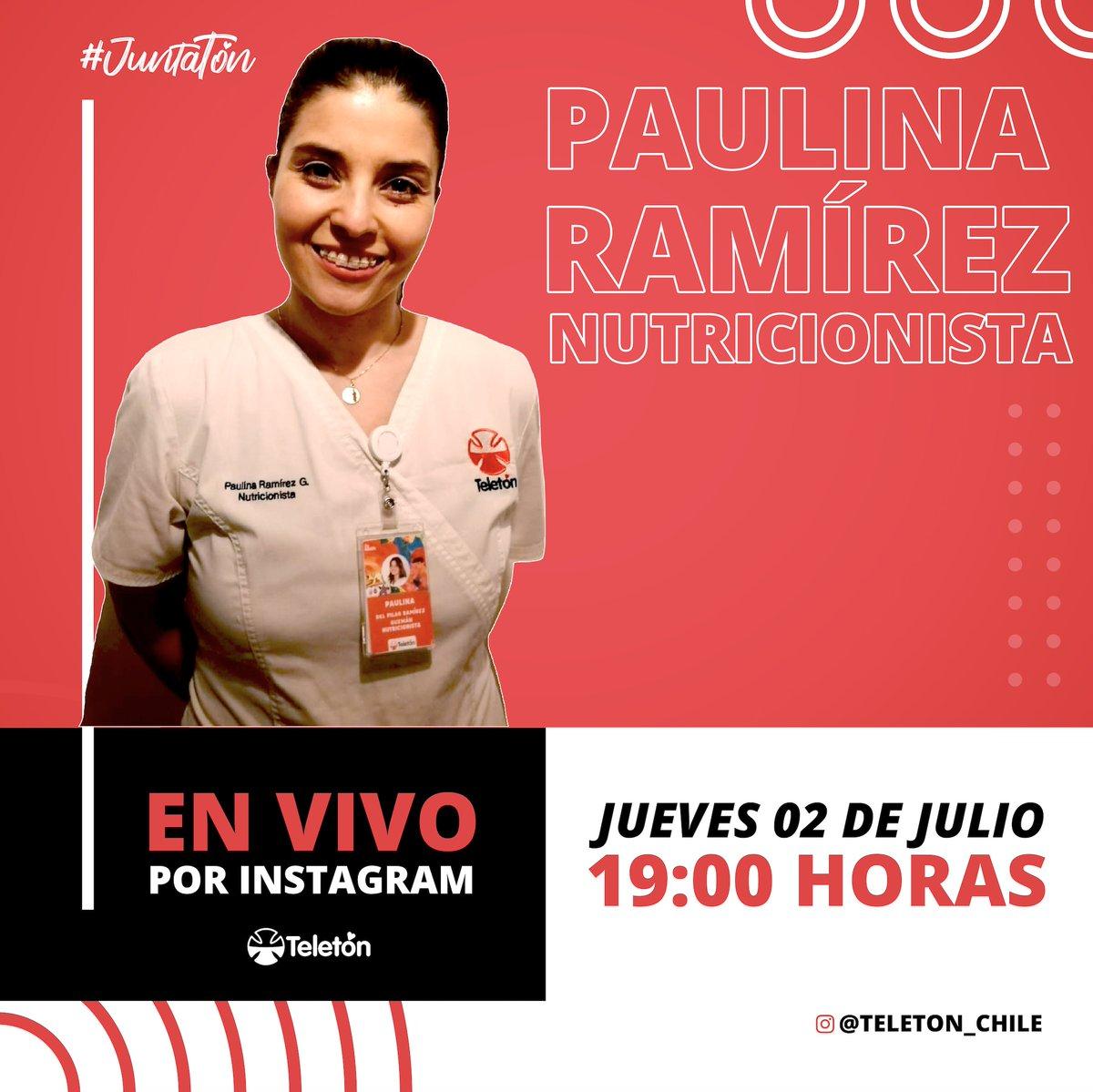 🔸 INVITACIÓN   Este jueves 02 de julio, tendremos una interesante #Juntatón con Paulina Ramírez, nutricionista de Teletón #Concepción, donde hablaremos sobre la alimentación en tiempos de Covid-19 y todo lo que ello implica. Desde las 19 hrs por nuestro Instagram @teleton_chile https://t.co/0FcTiuxpjI