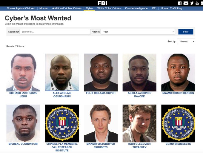 Screenshot of the FBI's most wanted fugitive webpage with ten cyber criminals.