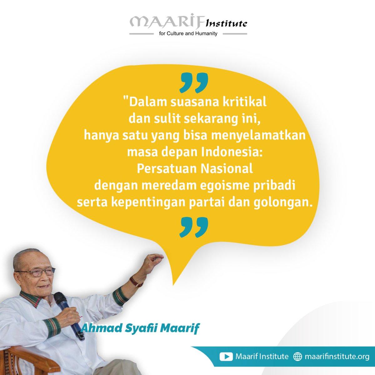 """""""Dalam suasana kritikal dan sulit sekarang ini, hanya satu yang bisa menyelamatkan masa depan Indonesia: persatuan nasional dengan meredam egoisme pribadi dan kepentingan partai dan golongan."""" @BuyaSyafii https://t.co/sDpzVQ3AbD"""