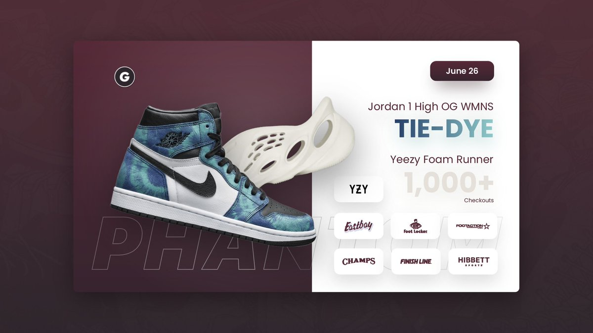 Back to back releases of Phantom taking stock on every site. 🥳👻  ✅ - Yeezy QNTM Barium feast. ✅ - Tons of Tie-Dye 1s secured. ✅ - 1,350+ Foam Runner checkouts (More than any other bot 🤷♂️)  A random retweet & reply will receive a Phantom Renewal Key. 👀📬 https://t.co/f0jAQauWDA