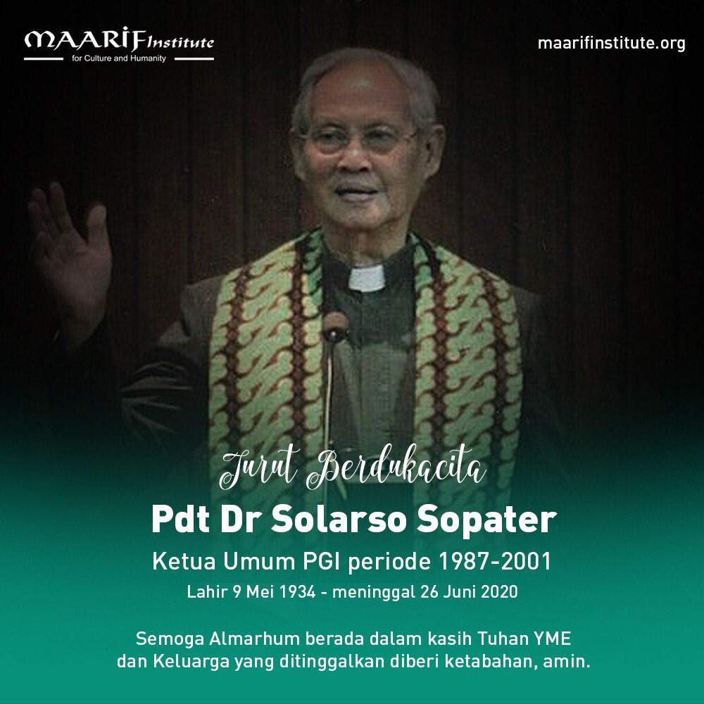 Selamat jalan Pdt Solarso Sopater. #RIP https://t.co/Gn1kyJiGCZ