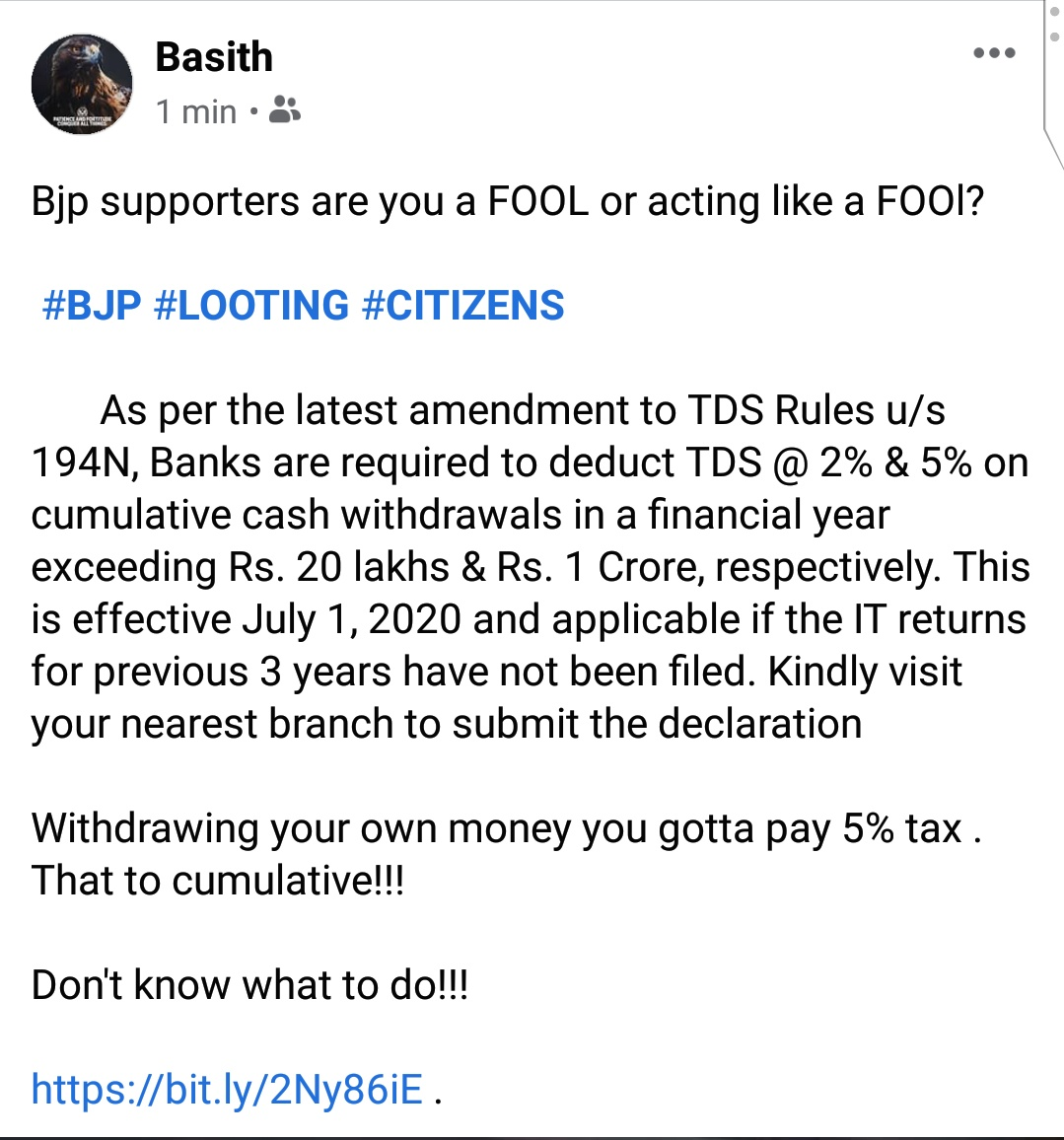 Bjp supporters are you a FOOL or acting like a FOOl?    #BJP #LOOTING #CITIZENS   Withdrawing your own money you gotta pay 5% tax . That to cumulative!!!   Don't know what to do!!!   https://bit.ly/2Ny86iE .pic.twitter.com/6xVXbmeGq0