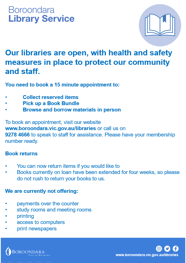 Book a time to visit our libraries to collect reserves and Bundle & Collect. For more information, visit our website. https://t.co/yOl697tARu