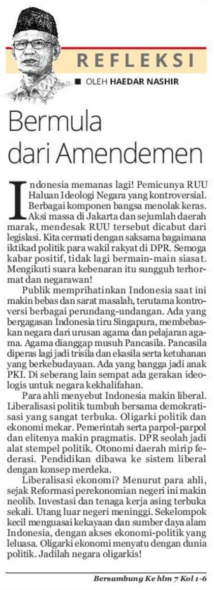 Pikiran bernas dan jernih dari Ketua Umum Pimpinan Pusat Muhammadiyah @muhammadiyah  @PPAisyiyah @ppnasyiah @PPPemudaMu @HaedarNs https://t.co/TrR7kZc5pT