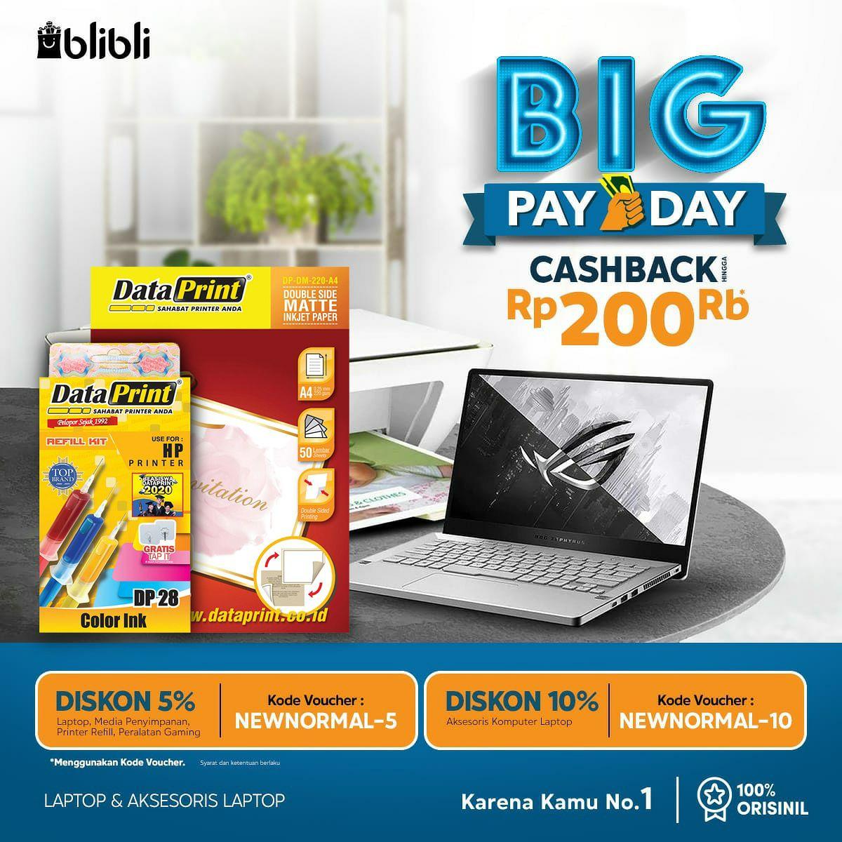 Promo Cashback Big Payday DataPrint di Blibli  Dapatkan cashback untuk pembelian produk DataPrint yang mana saja hanya di official store DataPrint Blibli : https://t.co/kIxuwLSDUi  Promo berlaku HANYA hari ini tanggal 27 juni 2020  Jangan sampai kehabisan, kupon terbatas. https://t.co/I9W517OcZU