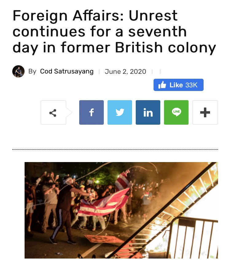 """How did I miss this intrepid reporting on the George Floyd protests from the Thai Enquirer?  """"Unrest and protests continued for a seventh straight day in the former British colony of the United States...""""   https://www. thaienquirer.com/13861/foreign- affairs-unrest-continues-for-a-seventh-day-in-former-british-colony/  … <br>http://pic.twitter.com/dGpwMgPyjl"""