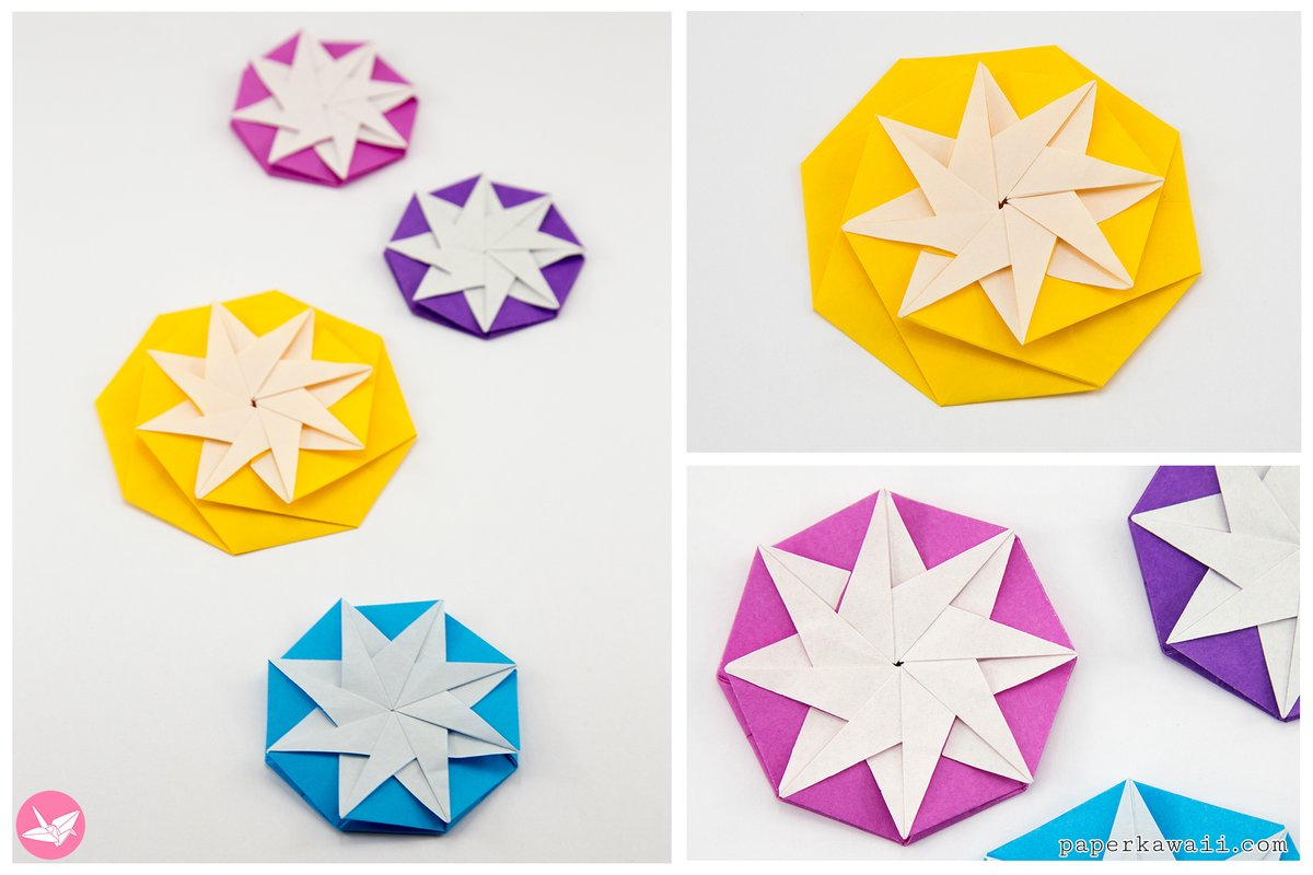 Four Point Star Origami Treat Box - Muslin and Merlot | 800x1200
