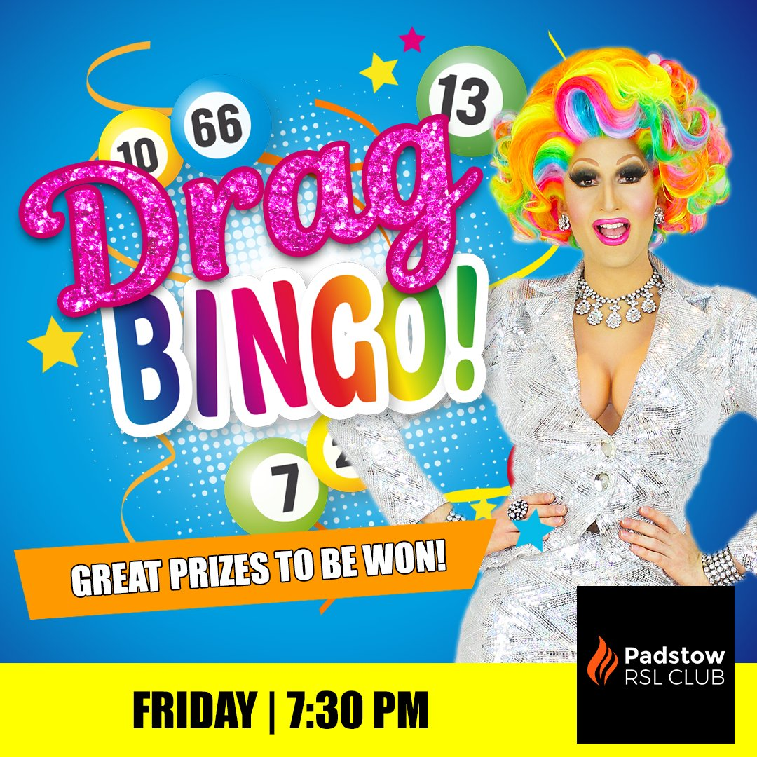 We're back, back, back again!   Join us for Drag Bingo at Padstow RSL Club Friday night hosted by Prada Clutch & Conchita Grande!   Bookings essential - Contact the venue direct #DragBingo #BingoSydney #SydneyDragQueenpic.twitter.com/j0PCe4cCug