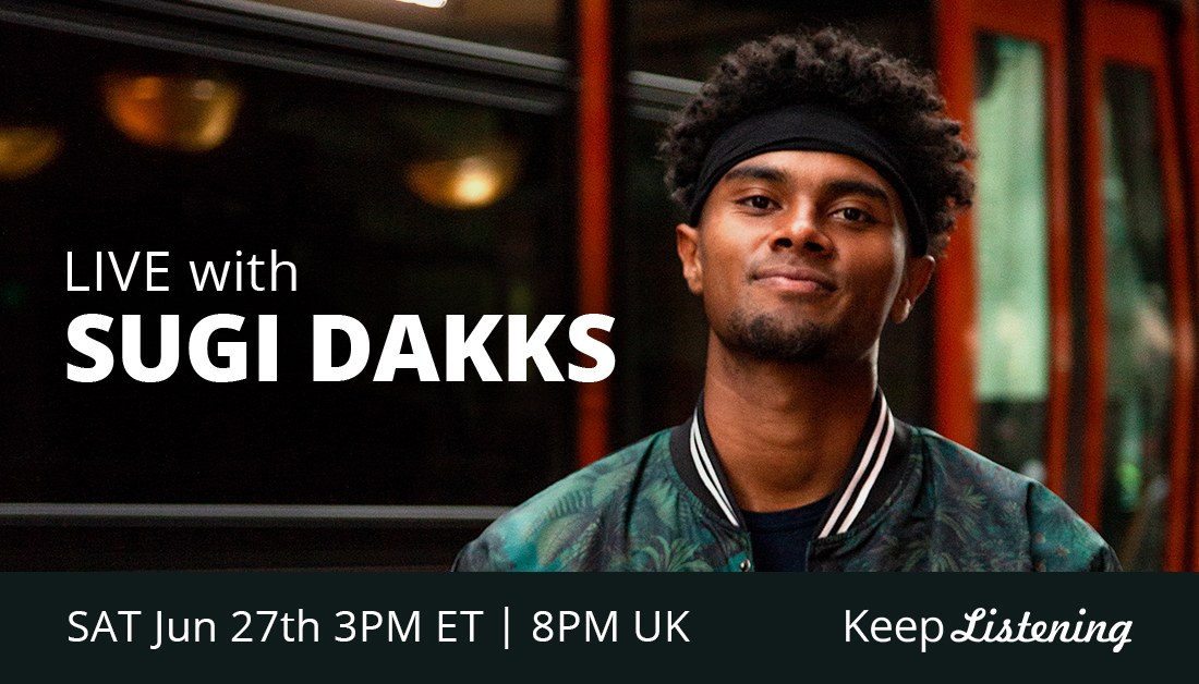 Combining a dynamic blend of piano and rap that merges into jazz-tinged hip-hop sound, @SugiDakks will be taking over our listening room Saturday at 3pm ET // 8pm UK. Don't forget to tune in! https://t.co/5eRekwAXt0 https://t.co/2p7e8mEGLL