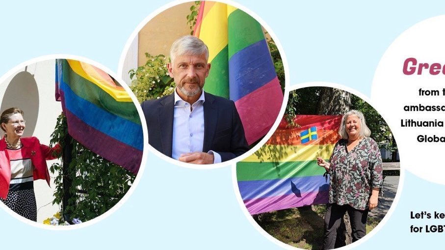 Sending greetings together with my colleagues from #Estonia and #Latvia on #GlobalPride Day! #BalticPrideWeek #DriveforDemocracy #Sweden #Lithuania @LGLLithuania @LithuaniaMFA @SweMFA @AnnLinde @LithuaniaMFA @SwedeninEE @SwedeninLV @SwedeninLTU @ILGAWORLD https://t.co/EleSu4ZpIQ