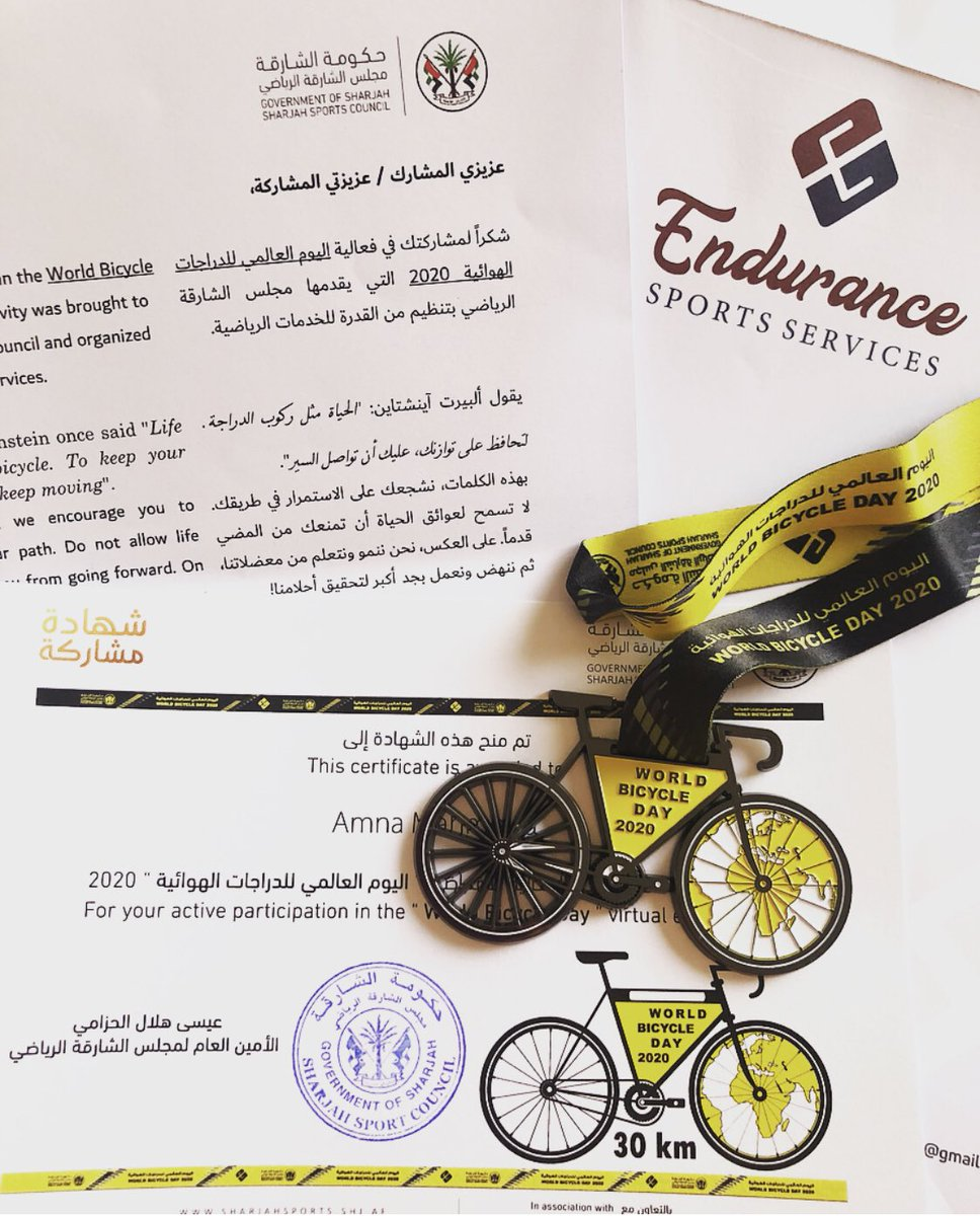 💛🚲🖤 #worldbicycleday2020  @Endurance_ss @SharjahSports https://t.co/T7YJ3qstbK