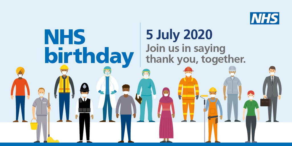 Its the #NHSBirthday on 5 July, and were taking the chance to say thank you to everyone who has helped the NHS respond to coronavirus — our amazing staff, key workers and the public. Join us on the day at 5pm for a country-wide clap to say #ThankYouTogether. 👏 💙