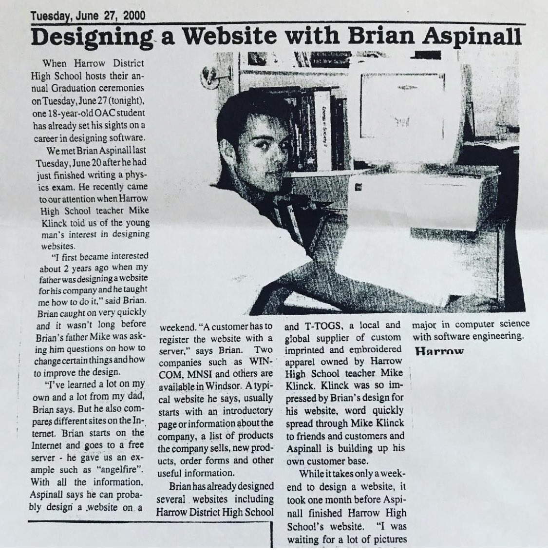 20 years ago today I was in the local newspaper showcasing how to code a website.