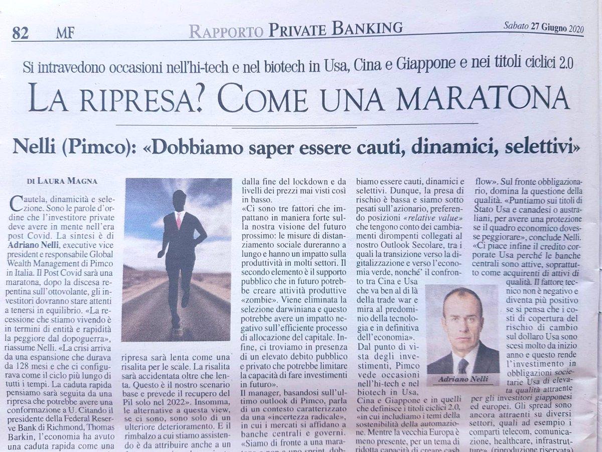 """Oggi su @MilanoFinanza Adriano Nelli, executive Vice President di @PIMCO, fa una sintesi del private equity post #COVID19 """"Cautela, dinamicità e selezione devono essere le parole d'ordine dell'investitore private"""". https://t.co/BJfGqHgATc"""