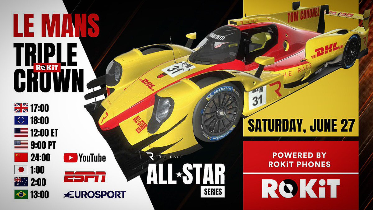 Racing 🏎 tonight 19h #LeMans with #Oreca #legendstrophy on my SIM at home 🏡 with all the racegang for the #triplecrown 👑 #monacogp #indy500 and #lemans Watching it tonight guys on twitch.tv/tomcoronel_eat…