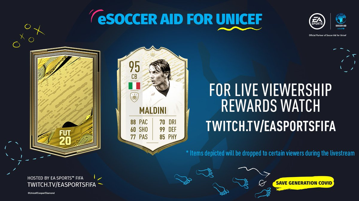 ⛓️ Link your EA and Twitch accounts ➡️ ea.com/twitchlinking 👀 Watch the eSoccer Aid for Unicef Tournament 🏆 ➡️ www.twitch.tveasportsfifa for an opportunity to receive these FUT rewards ⤵️