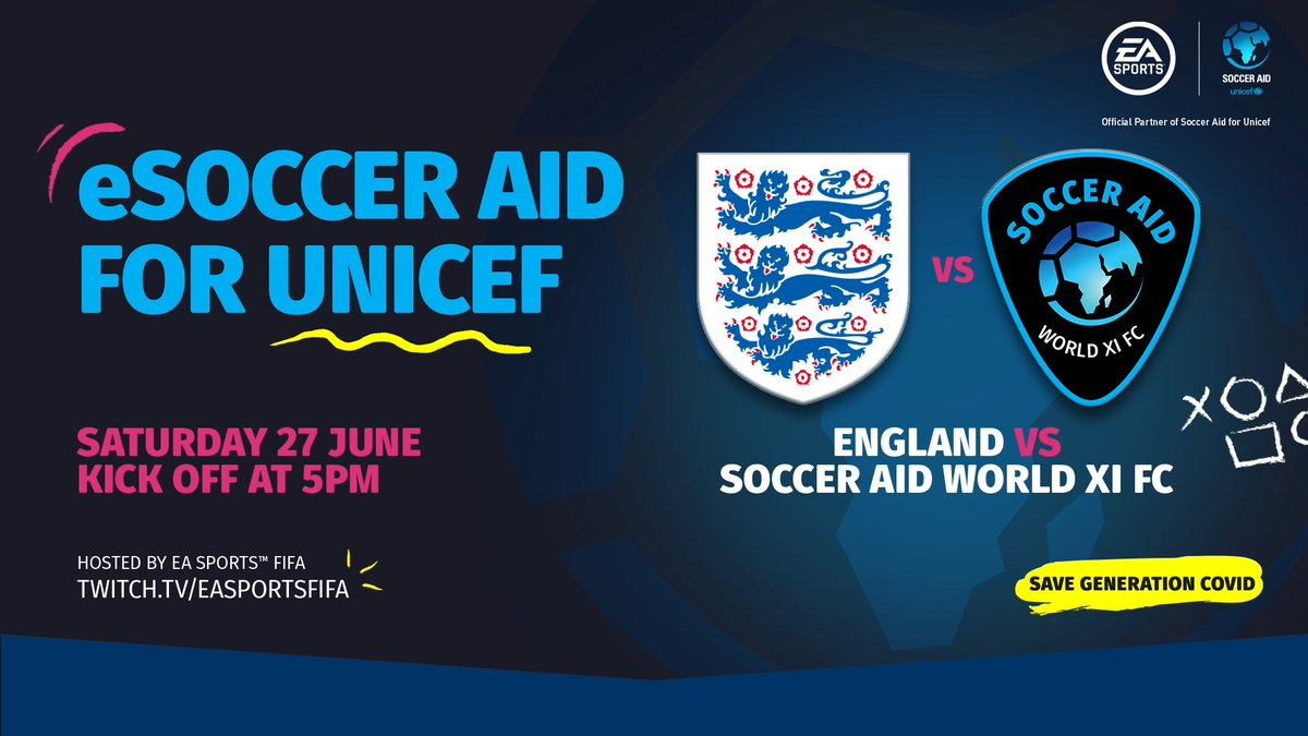 The eSoccer Aid for Unicef tournament has kicked off! Join us and watch some of your favourite ⭐ compete in #FIFA20! Watch live 👉 twitch.tv/easportsfifa | @socceraid