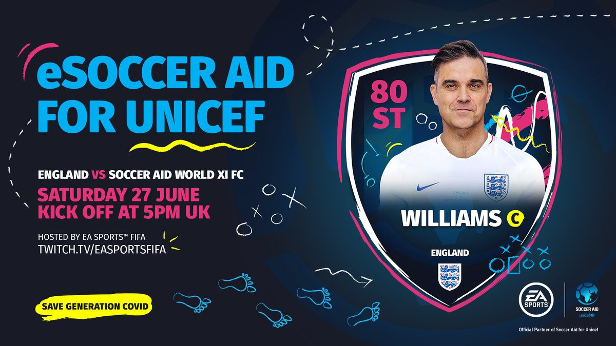 Come on, let's play some FIFA and raise lots of money 🎮😎 Watch me take on @usainbolt for eSoccer Aid at 9.25pm UK time 👉 Twitch.tv/easportsfifa @SoccerAid | @Unicef_UK | @DFID_UK | @EASPORTSFIFA