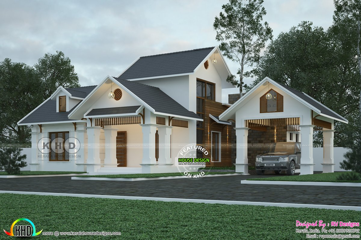 Kerala Home On Twitter Beautiful Sloping Roof House Https T Co Ay0nf45n8h Architecture Design 3drendering Houseplan Kerala