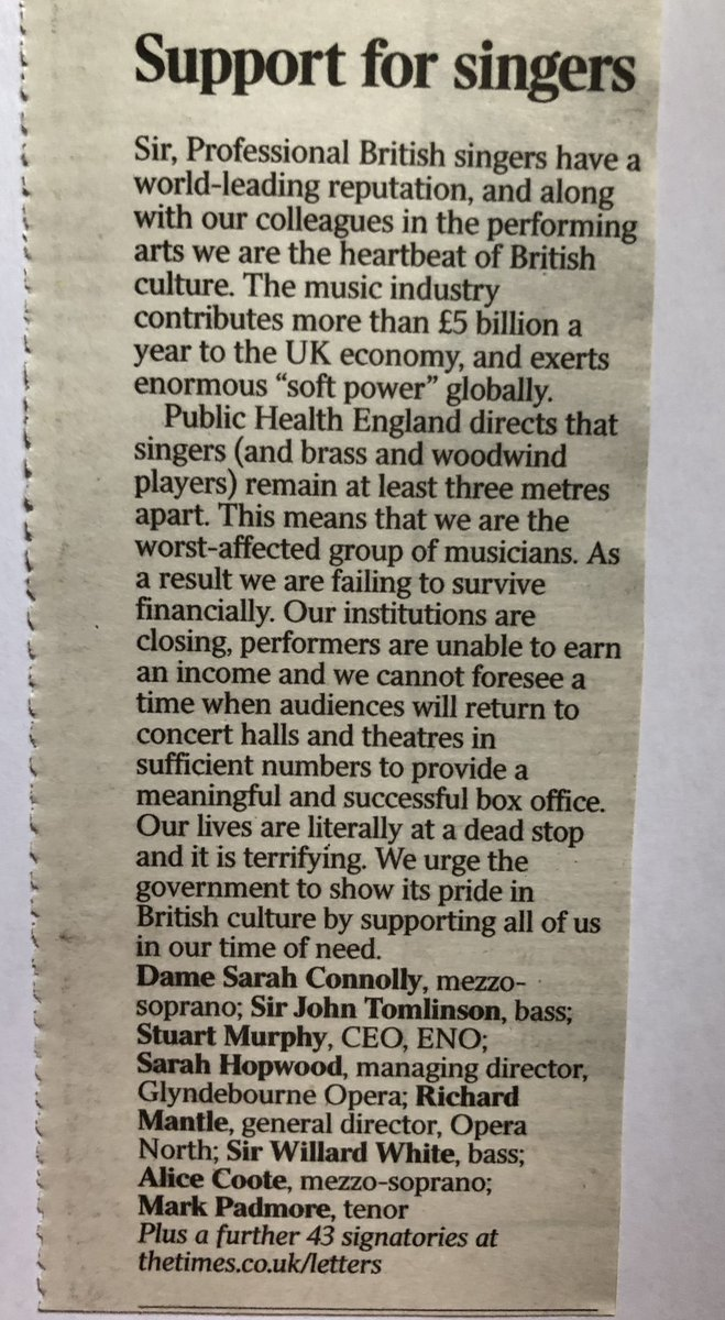Letter in today's Times signed by 51 world class singers and Opera Companies. Please repost as far and wide as you can. These voices must be heard. -bc