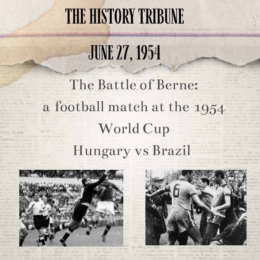 A Football match at the1954 #Worldcup between#Hungary and#brazil , a #quarterfinals played in#bern, #switzerland. Violent conduct and Fighting between the teams continued in the dressing rooms after the final whistle.#worldcuprussia #worldcup2018 #worldcupfinal #soccer<br>http://pic.twitter.com/kK0OCxJUWH
