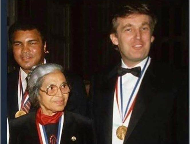 """Left calls @realDonaldTrump racist daily. He won 'Ellis Island' award for """"patriotism, tolerance, brotherhood and diversity"""" alongside Mohammed Ali and Rosa Parks. Meanwhile, @JoeBiden insists #YouAintBlack unless you vote for him. #Trump2020 #SaturdayMorning #MAGA #FoxNews #KAG<br>http://pic.twitter.com/yX11GUC6DO"""