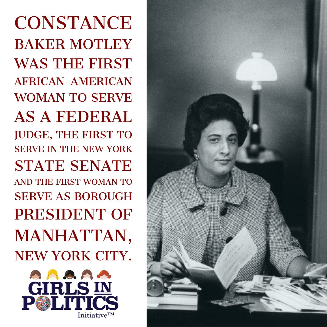 Constance Baker Motley was the first African-American woman to serve as a federal judge, the first to serve in the New York State Senate and the first woman to serve as Borough President of Manhattan, New York City. #womenleading #womenjudges #girlsinpoliticspic.twitter.com/y49X4J2ITR