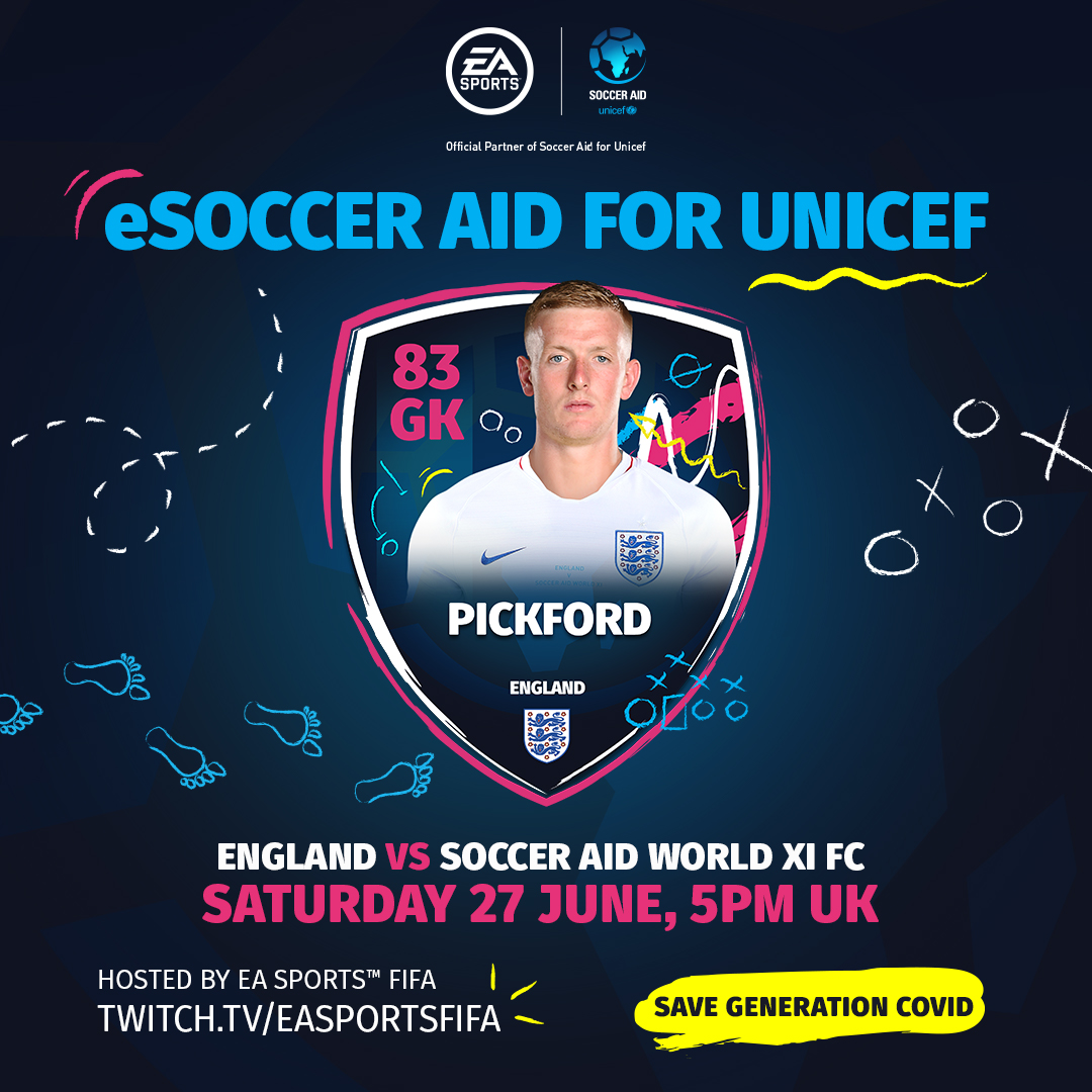 Good luck to @JPickford1 and our #eLions star @Tekkz who are representing England in tonight's eSoccer Aid! 🎮