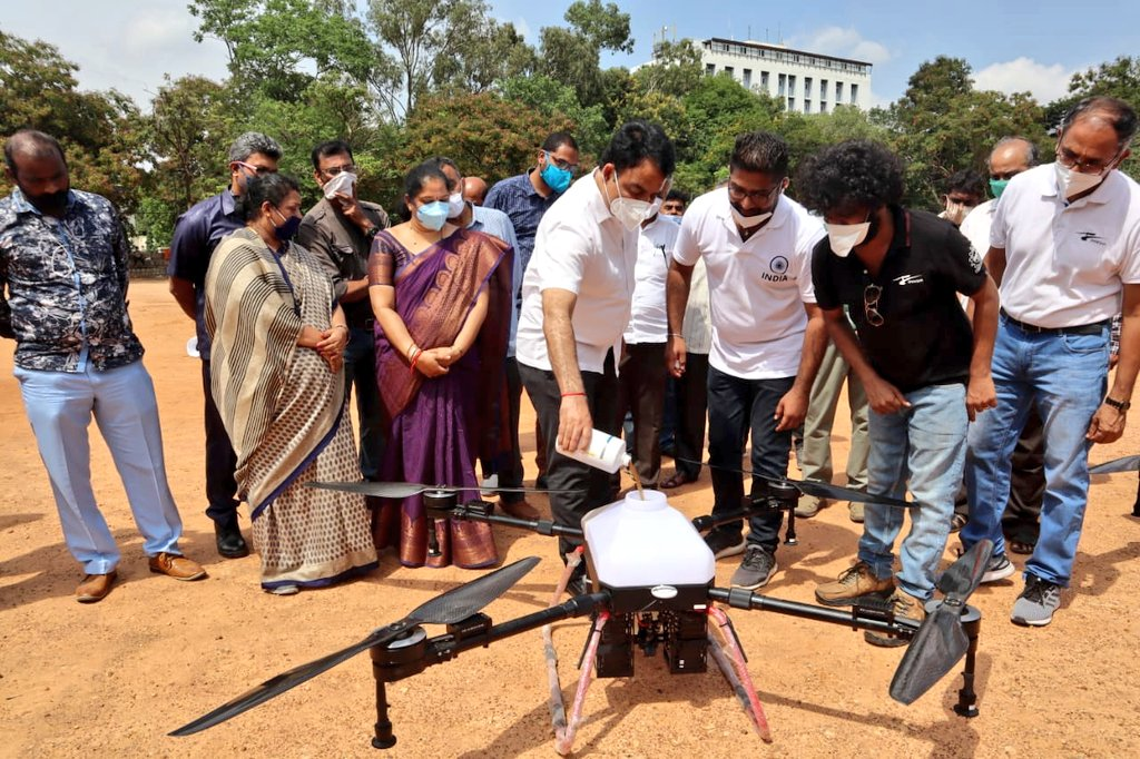Kudos to Team #Dhaksha, mentored by filmstar #AjithKumar, for developing a way to sanitize large areas against COVID-19 via disinfectant drones.  Time and again, technology has proven to be critical in the fight against #COVID-19!  @sugaradhana https://t.co/3hwhciDZdt