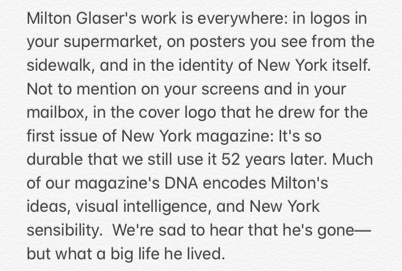 A statement from the editors of @NYmag about Milton Glaser's passing (obituary here: https://t.co/5bYPiSWlMn) https://t.co/osOqnkxXc9