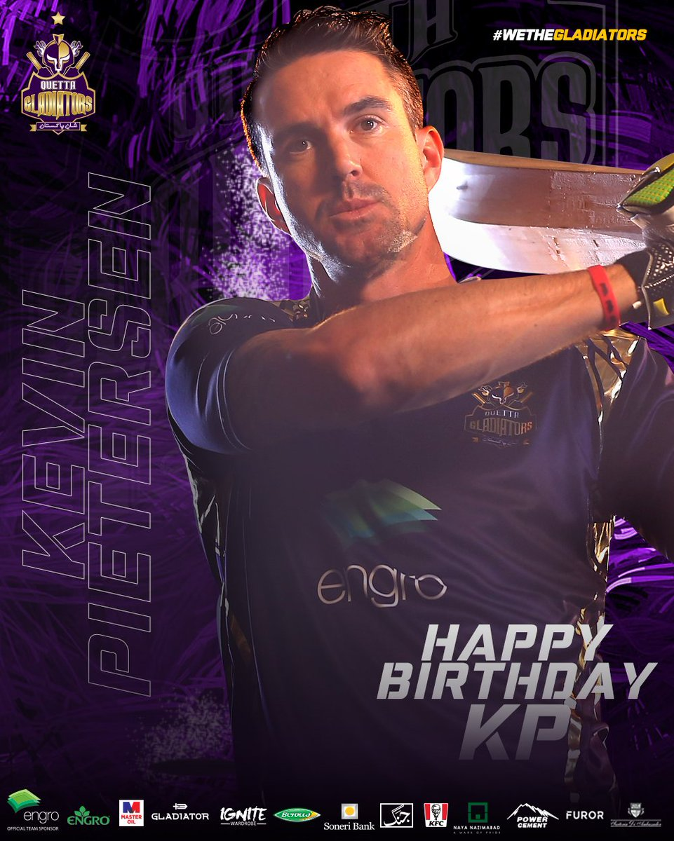 #HappyBirthdayKP 🥳🥳🥳  Join us in wishing our ultimate Gladiator 🐐 @KP24 a VERY HAPPY BIRTHDAY!!  🔥3️⃣0️⃣ 6's 😎 🏏2️⃣7️⃣ PSL Matches 💥6️⃣1️⃣1️⃣ Runs 🌪1️⃣3️⃣9️⃣.1️⃣ Strike Rate  #PurpleForce #WeTheGladiators https://t.co/O1XLYsz8wi