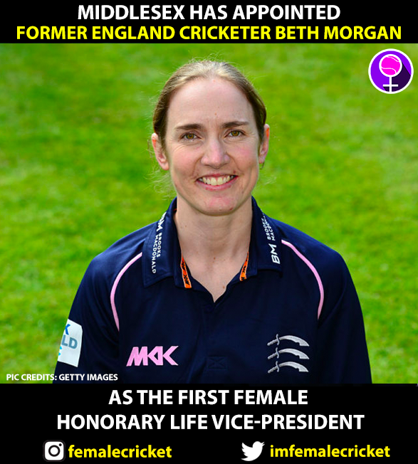 Morgan made first female Honorary Life Vice-President of @MiddxCCCWomen. 🙌