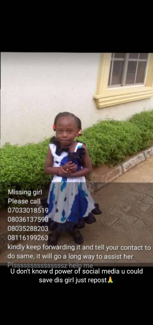 This little girl is missing, kindly retweet to save her.