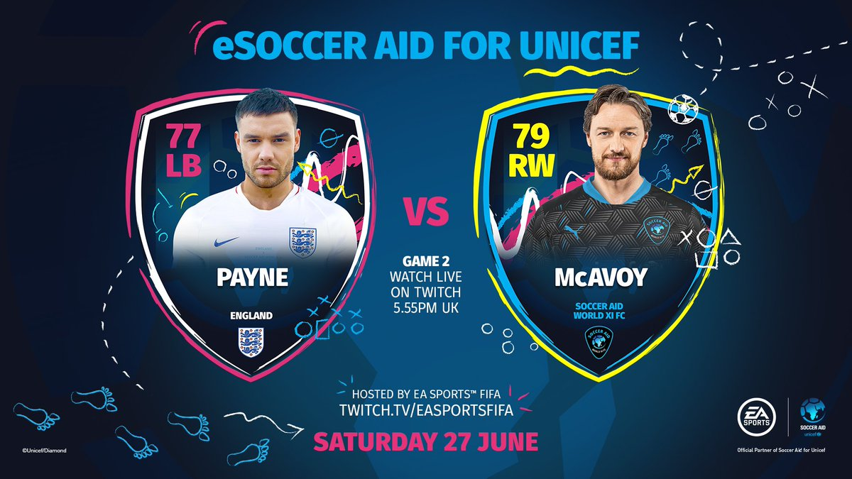 Today is the day, let's do this England! Come and watch me take on James McAvoy 5.45pm UK time 🎮🙌🏼 Twitch.tv/easportsfifa @socceraid | @Unicef_UK | @DFID_UK | @EASPORTSFIFA