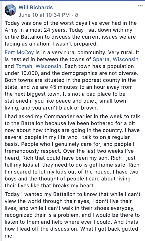 This Facebook post from a solider at Fort McCoy offers a look at daily racism in small town Wisconsin. Also a powerful example of the need to listen. https://t.co/xIFg8DZuMd https://t.co/pPe3SGiPMK