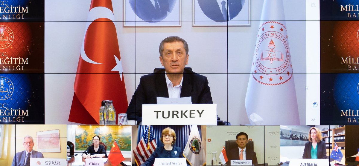 Minister Selçuk told G20 countries about Turkeys experiences on distance education during COVID-19. Representatives also from OECD, UNESCO and World Bank attended the G20 Education Ministers Online Meeting.