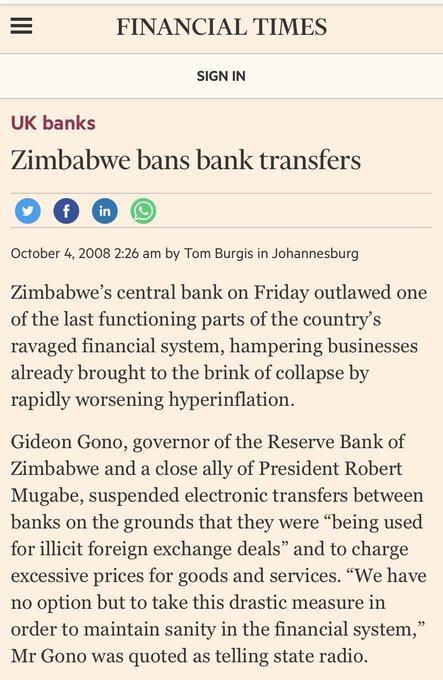 Zimbabwe bans bank transfers