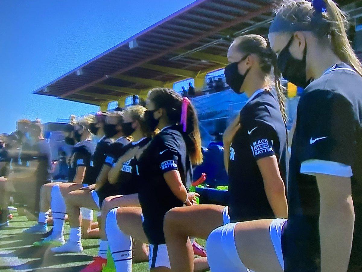 Every player kneeling during anthem. Wearing Black Lives Matters shirts.