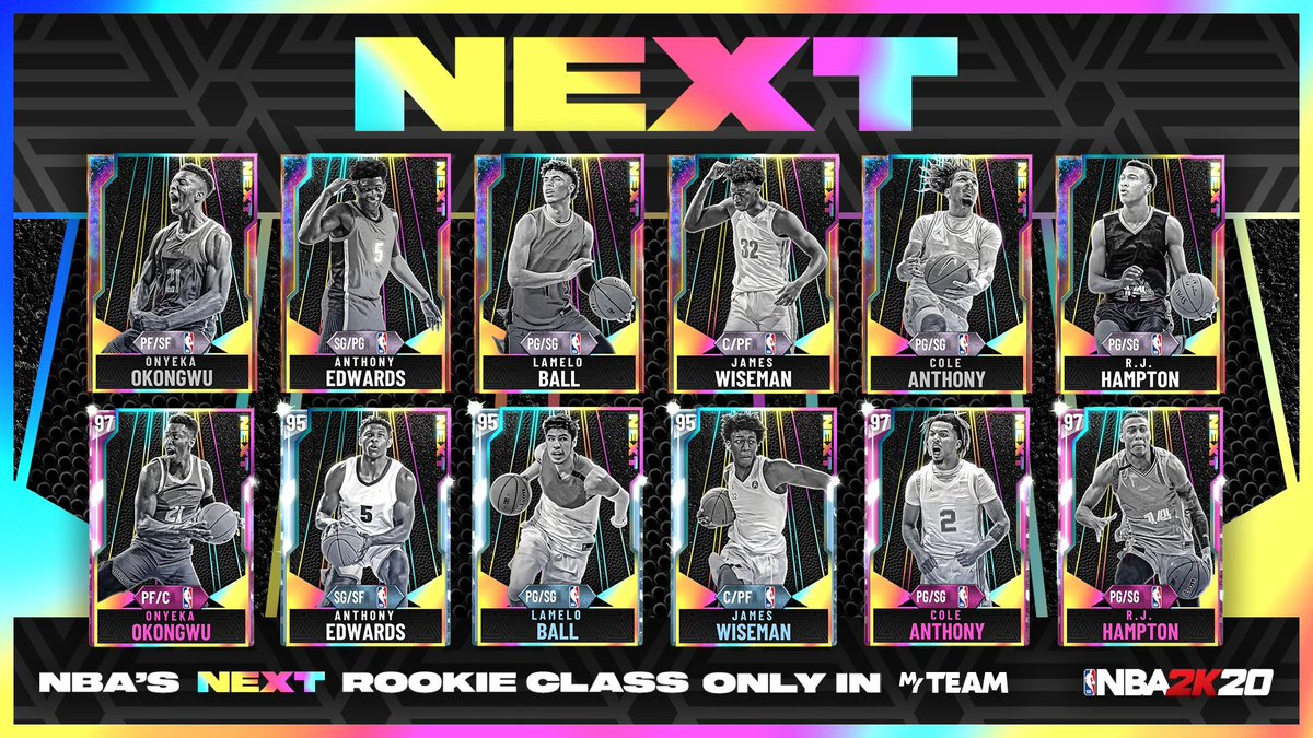 We dropped new cards w/ some of the biggest players in the upcoming 2020 draft. I catch up with @RjHampton14, @BigO21_ & @The_ColeAnthony on IG LIVE & they giveaway their own Galaxy Opals to @NBA2K_MyTEAM fans in the chat Come catch the fellas RIGHT NOW instagram.com/Ronnie2K