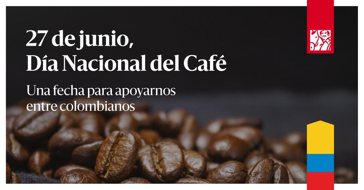 🎉 ¡Feliz Día Nacional del Café! Hoy todos los colombianos somos cafeteros y #EntreCafeterosNosApoyamos. ☕🇨🇴 Hoy 20% de descuento en tu café favorito para que lo prepares en casa. Mayor información: https://t.co/LMOp279m5J https://t.co/yNkIDzk9et
