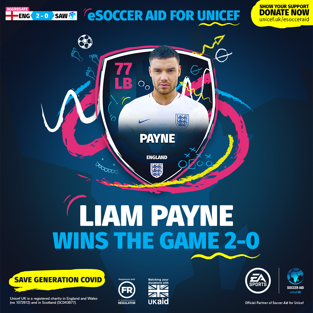 🏴 @LiamPayne 2-0 James McAvoy 🌎 England take the lead in eSoccerAid! Dont forget you can donate to enter our prize draw 👉 unicef.uk/esocceraid