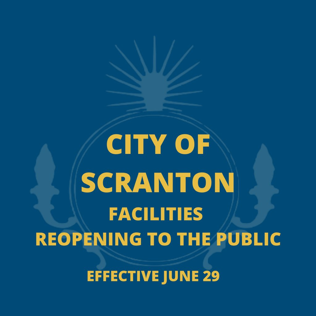 "City buildings will reopen to the public Monday, June 29, as Lackawanna County enters the ""green"" phase.    Please contact us by calling (570) 348-4101 or emailing scranton311@scrantonpa.gov with questions. https://t.co/c4M8A8jPfI"