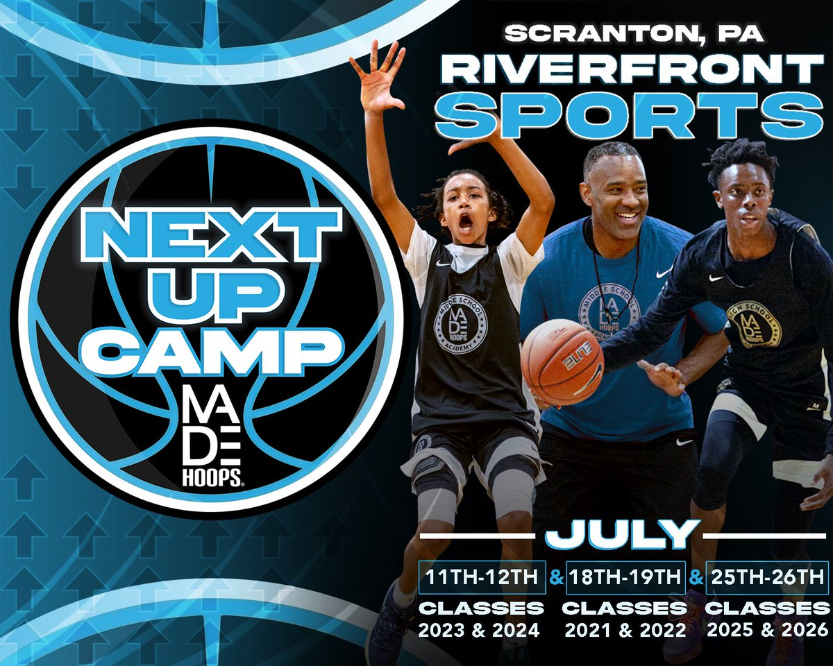 🚀 MADE Hoops Camps Are BACK! Introducing our Next Up Camp Series...  Are YOU Next Up? It's time to #CreateYourName.  🗓: July 11th-12th, 18th-19th, & 25th-26th ⛹️: Classes 2021-2026 🏟: Riverfront Sports 📍: Scranton, PA 🎥: Live Streamed  Register: https://t.co/CJw87vl0tH https://t.co/La7FlDaBQO